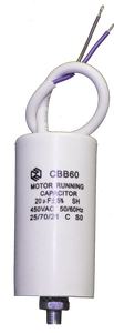 CBB60-G-20-450 | Конденсатор пусковой CBB60 20 мкФ 450В изолированные выводы; болт